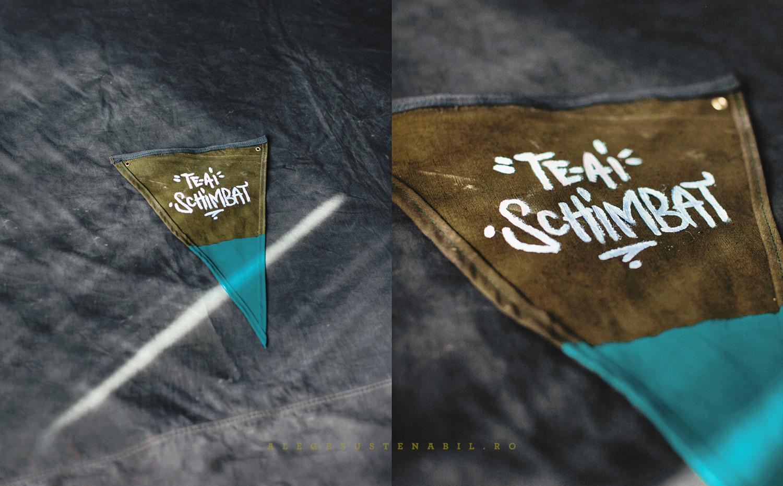 Stegulet handmade din canvas cu mesaj personalizat pentru dressing